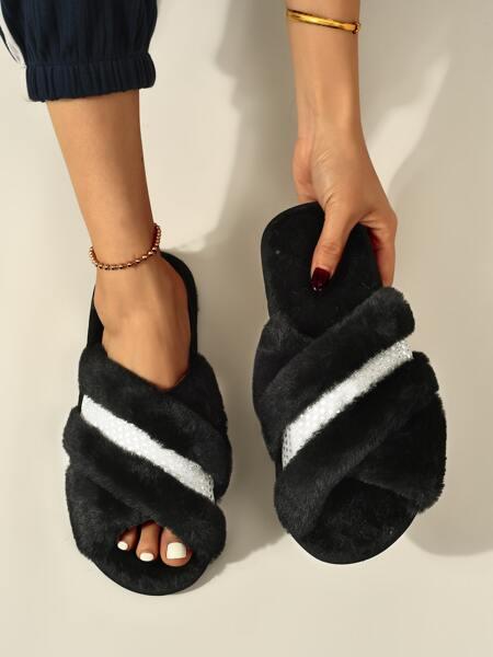 Rhinestone Decor Fluffy Bedroom Slippers