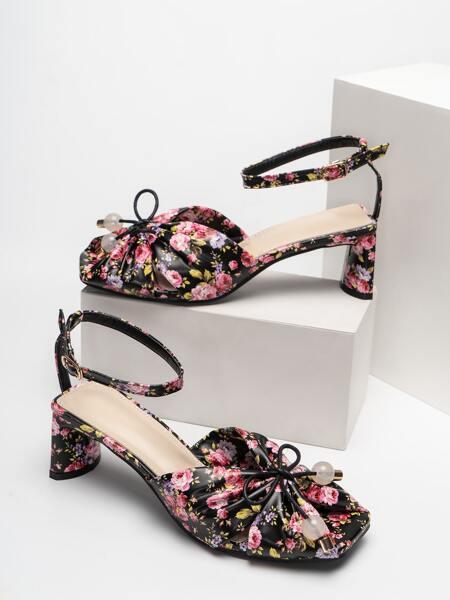 Floral Graphic Bow Decor Ankle Strap Pumps