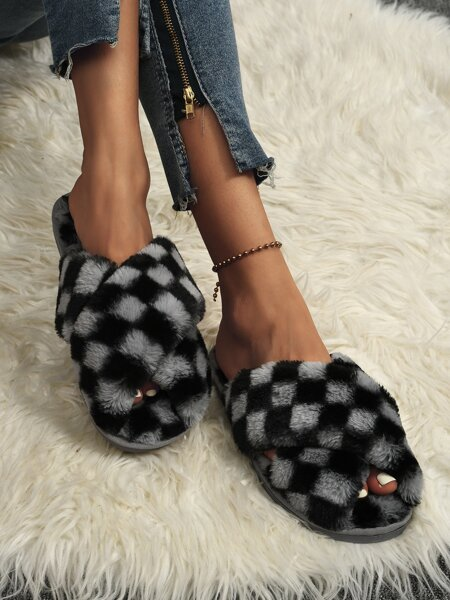 Two Tone Fluffy Slippers