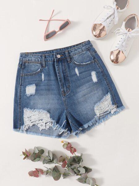 Lace Insert Ripped Raw Hem Denim Shorts