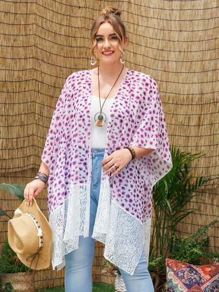Plus Ditsy Floral Contrast Lace Kimono