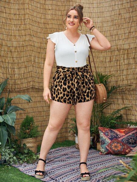 Plus Leopard Belted Paper Bag Waist Shorts