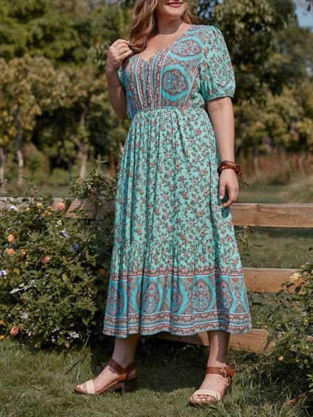 Plus Floral Print Puff Sleeve A-line Dress