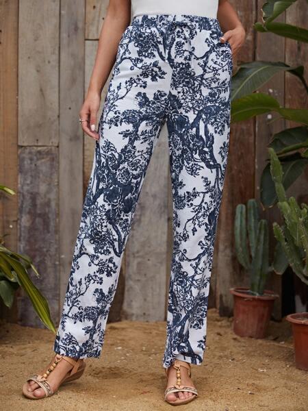 Floral & Tree Print Straight Leg Pants
