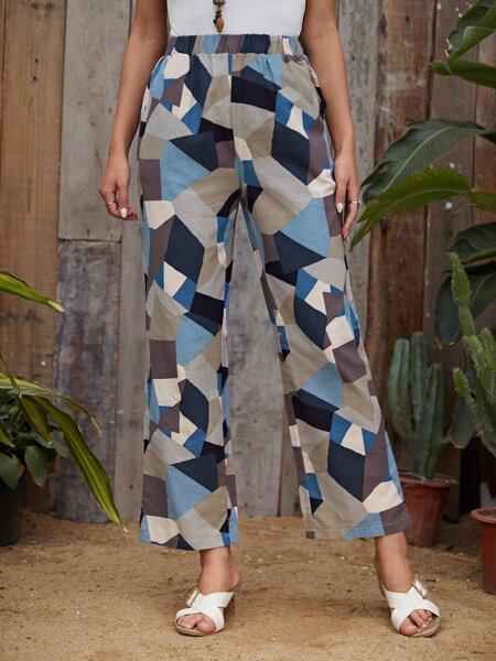 Geo Print Elastic Waist Pants