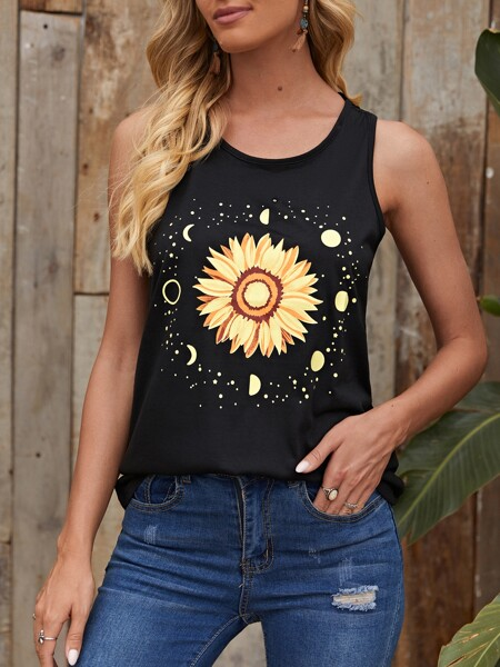 Sunflower And Galaxy Print Tank Top