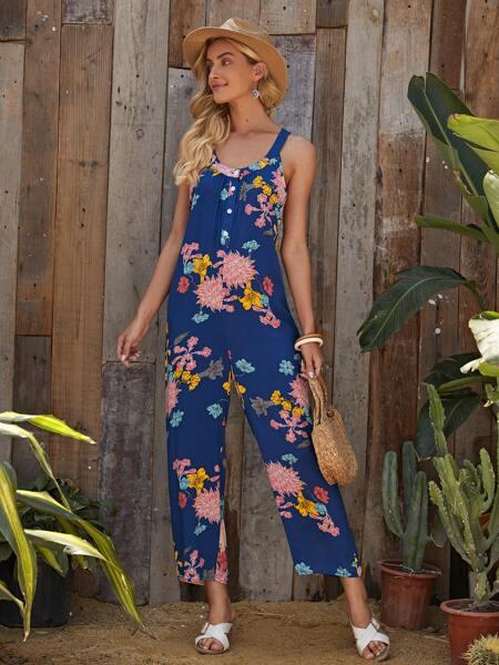 Floral Print Button Front Jumpsuit