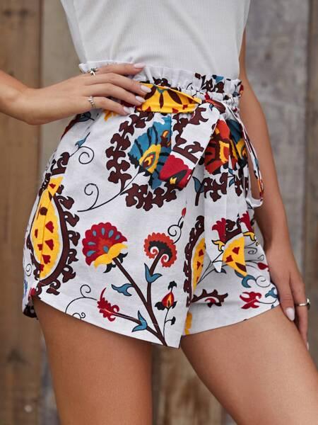 Floral Print Paperbag Belted Shorts