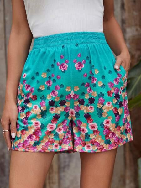 Floral Print Elastic Waist Shorts