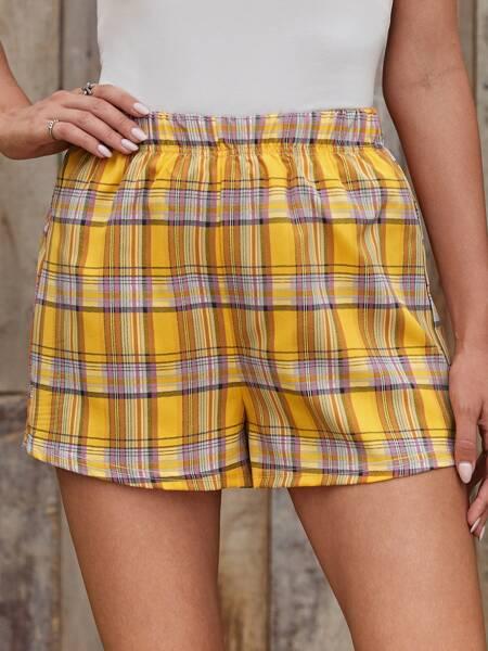 Elastic Waist Plaid Shorts
