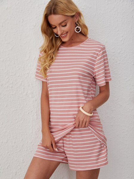 Striped Print Tee With Shorts
