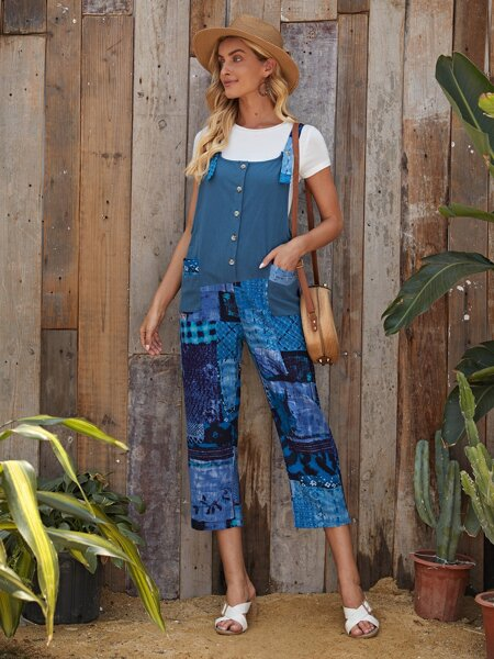 Floral & Patchwork Overall Jumpsuit Without Tee