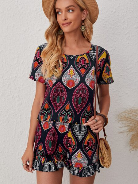 Allover Print Top With Shorts