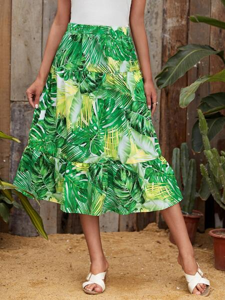 Tropical Print Ruffle Hem Skirt