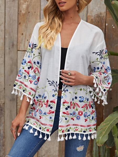 Tassel Trim Embroidery Floral Kimono