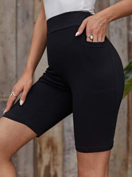 Wide Waistband Pocket Detail Solid Biker Shorts