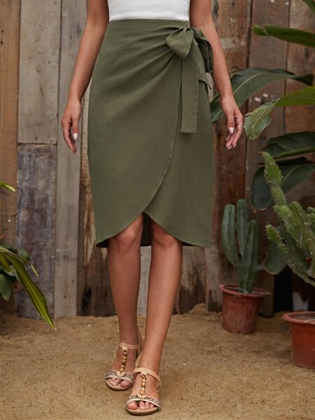 Wrap Knot Side Solid Skirt