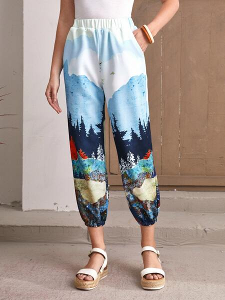 Graphic Slant Pocket Sweatpants