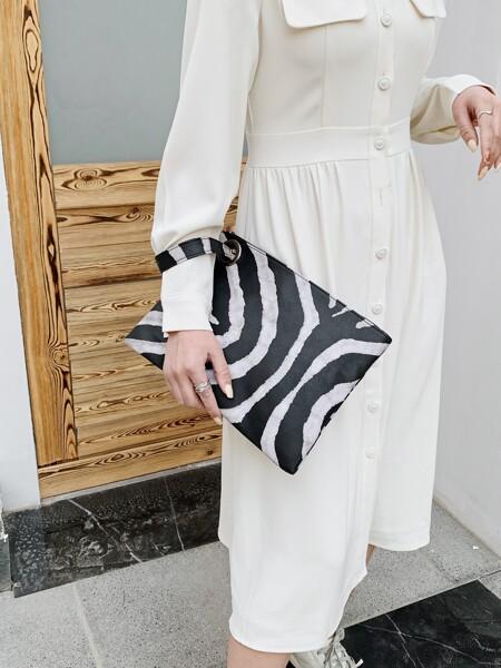 Zebra Striped Clutch Bag
