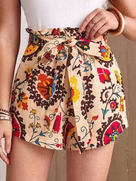 Floral Print Belted Paper Bag Waist Shorts