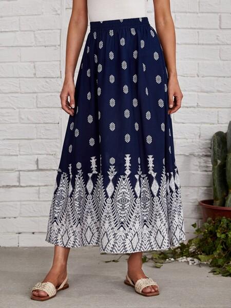 Graphic Print Skirt