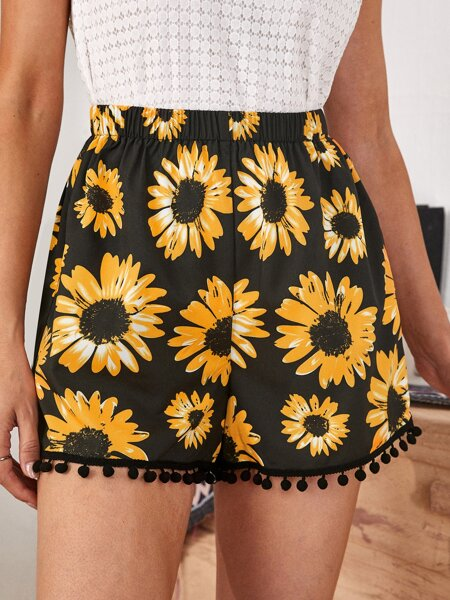 Pom Pom Detail Sunflower Print Shorts