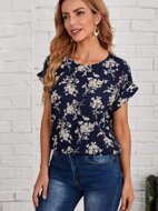 Cuffed Sleeve Floral Top