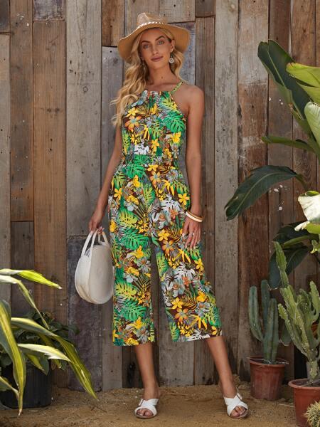 Tropical Print Tie Back Halter Jumpsuit