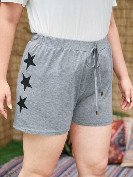Plus Star Print Track Shorts