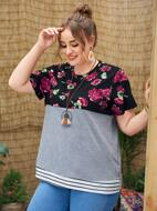 Plus Floral And Striped Print Tee