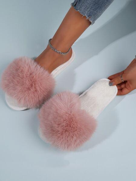 Open Toe Fluffy Bedroom Slippers