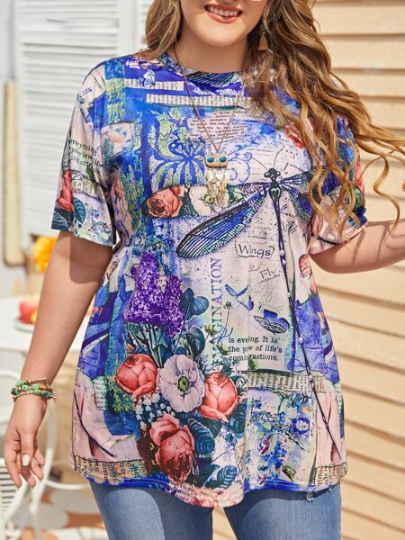 Plus Floral And Dragonfly Print Tee
