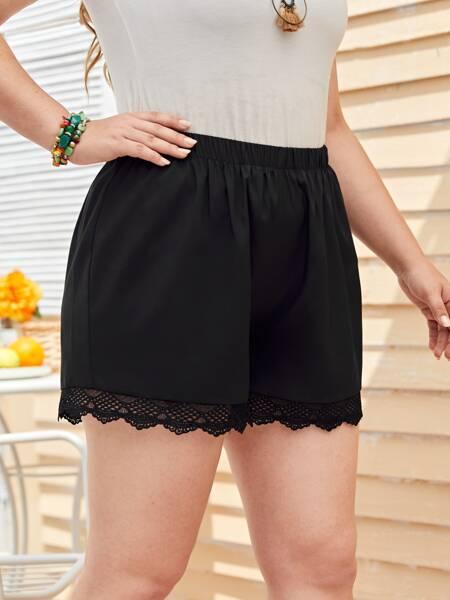 Plus Contrast Lace Scallop Trim Shorts