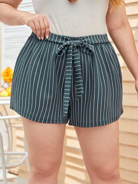 Plus Striped Tie Front Shorts