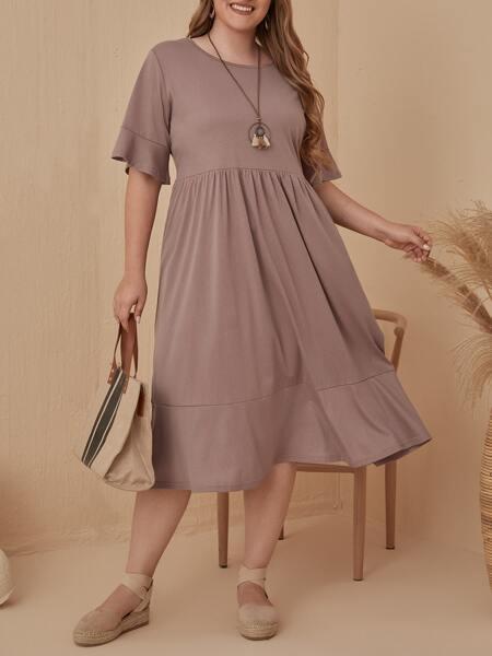 Plus Solid Flounce Hem Babydoll Dress