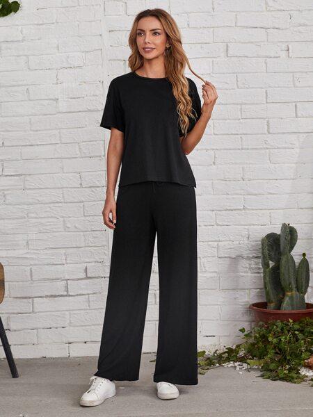 Drop Shoulder Solid Tee & Pants Set
