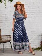 High Waist Split Thigh Allover Print Dress