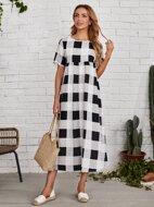 High Waist Buffalo Plaid Dress