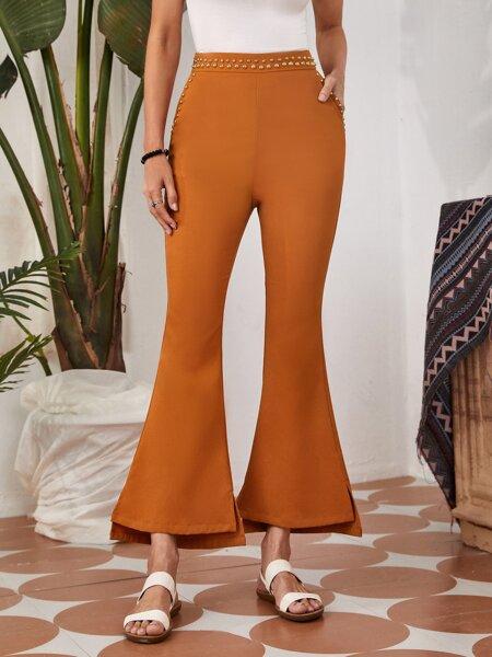 Studded Detail Flare Leg Pants