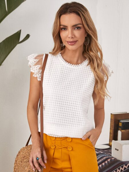 Embroidery Mesh Ruffle Armhole Lace Top