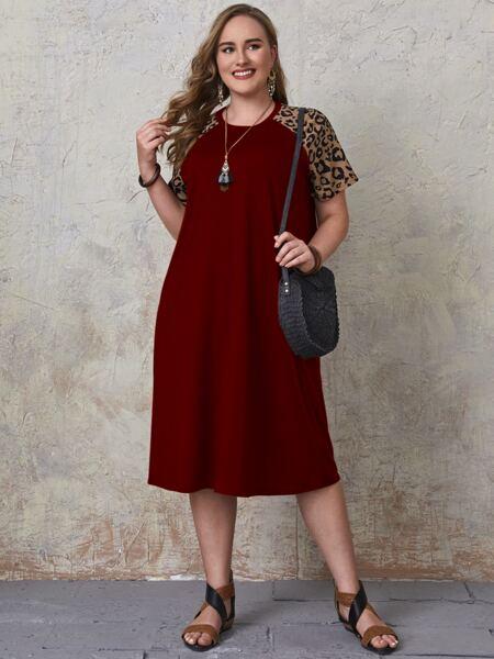 Plus Contrast Leopard Raglan Sleeve Tee Dress