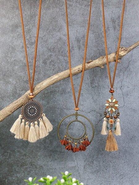 3pcs Tassel Charm Necklace