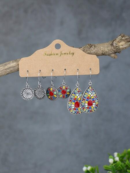 3pairs Geometric Earrings