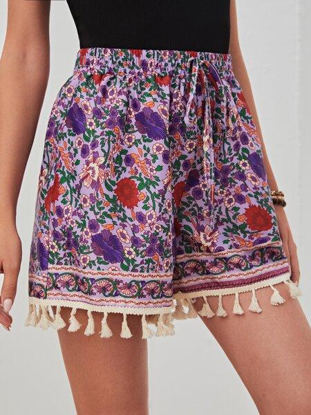 Allover Floral Print Fringe Hem Shorts