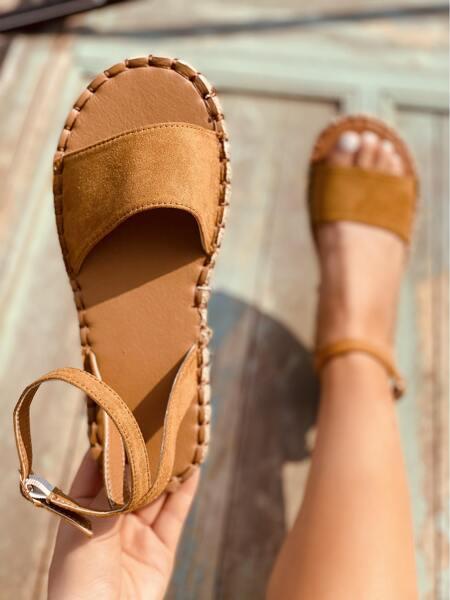Suede Flat Espadrille Sandals