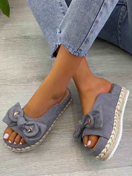 Bow Decor Flatform Sandals