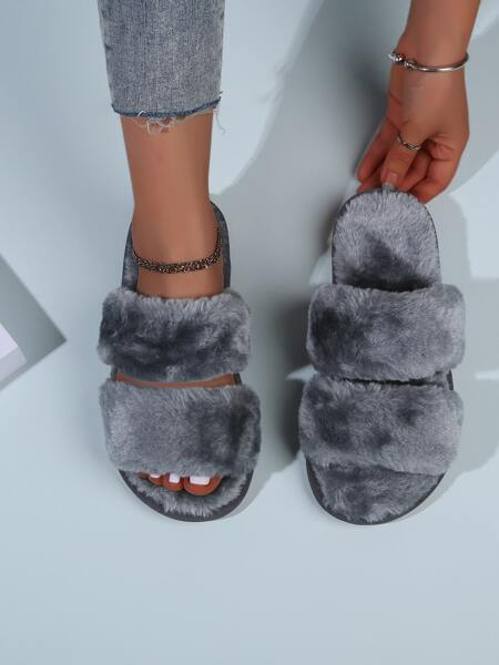 Fluffy Open Toe Slippers