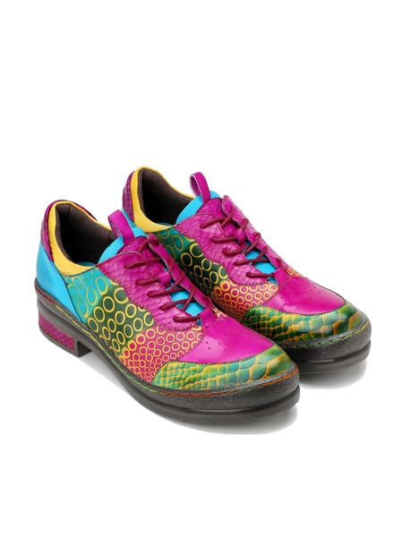 Colorblock Lace-Up Front Leather Oxfords