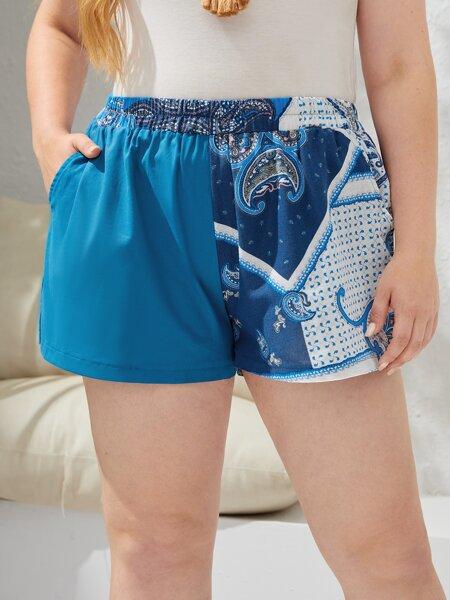 Plus Two Tone Paisley Print Shorts