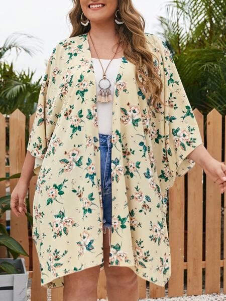 Plus Allover Floral Open Front Kimono